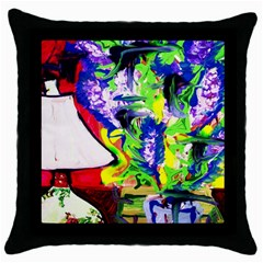Lilac, Lamp And Curtain Window 1 Throw Pillow Case (black)