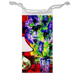 Lilac, Lamp And Curtain Window 1 Jewelry Bags by bestdesignintheworld