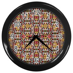 Rose Buds And Floral Decorative Wall Clocks (black) by pepitasart