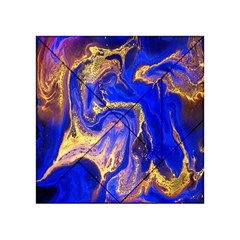 Blue Gold Marbled Acrylic Tangram Puzzle (4  X 4 ) by 8fugoso