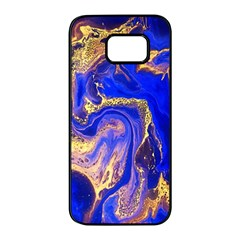 Blue Gold Marbled Samsung Galaxy S7 Edge Black Seamless Case by 8fugoso