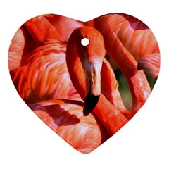 Pink Flamingo Flock Pattern Ornament (heart)
