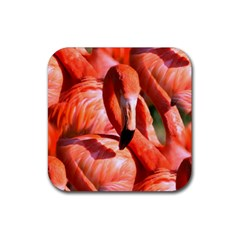 Pink Flamingo Flock Pattern Rubber Coaster (square)  by CrypticFragmentsColors