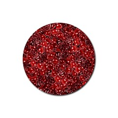 Sweet Cherries Rubber Coaster (round)  by eyeconart