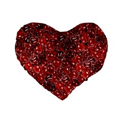 Sweet Cherries Standard 16  Premium Flano Heart Shape Cushions by eyeconart