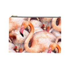 Pink Flamingos Flock Cosmetic Bag (large)