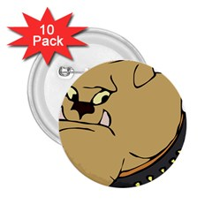 Bulldog Dog Head Canine Pet 2 25  Buttons (10 Pack)
