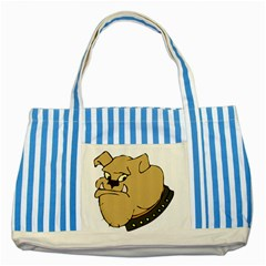 Bulldog Dog Head Canine Pet Striped Blue Tote Bag