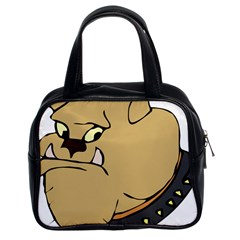 Bulldog Dog Head Canine Pet Classic Handbags (2 Sides)