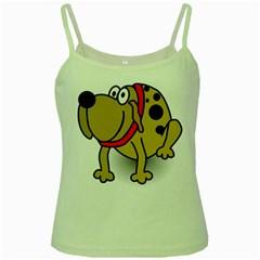 Dog Brown Spots Black Cartoon Green Spaghetti Tank