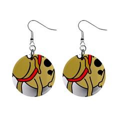 Dog Brown Spots Black Cartoon Mini Button Earrings