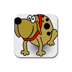 Dog Brown Spots Black Cartoon Rubber Square Coaster (4 Pack)