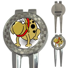 Dog Brown Spots Black Cartoon 3 In 1 Golf Divots by Nexatart