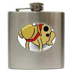 Dog Brown Spots Black Cartoon Hip Flask (6 Oz)