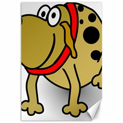 Dog Brown Spots Black Cartoon Canvas 12  X 18