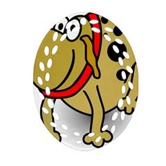 Dog Brown Spots Black Cartoon Ornament (oval Filigree)