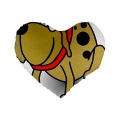 Dog Brown Spots Black Cartoon Standard 16  Premium Heart Shape Cushions