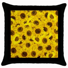 Sunflower Throw Pillow Case (black) by eyeconart