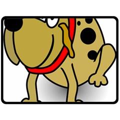 Dog Brown Spots Black Cartoon Double Sided Fleece Blanket (large)