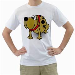 Dog Brown Spots Black Cartoon Men s T Shirt (white)