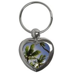Palm Trees Tropical Beach Scenes Coastal   Key Chains (heart)