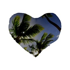 Palm Trees Tropical Beach Scenes Coastal   Standard 16  Premium Flano Heart Shape Cushions by CrypticFragmentsColors