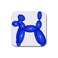 Poodle Dog Balloon Animal Clown Rubber Square Coaster (4 Pack)