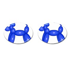 Poodle Dog Balloon Animal Clown Cufflinks (oval)