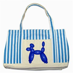 Poodle Dog Balloon Animal Clown Striped Blue Tote Bag