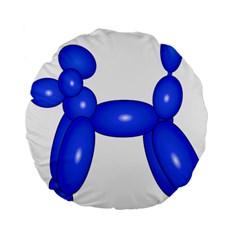 Poodle Dog Balloon Animal Clown Standard 15  Premium Flano Round Cushions