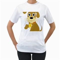 Dog Doggie Bone Dog Collar Cub Women s T Shirt (white) (two Sided)
