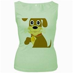 Dog Doggie Bone Dog Collar Cub Women s Green Tank Top