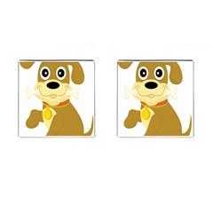 Dog Doggie Bone Dog Collar Cub Cufflinks (square)