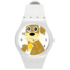 Dog Doggie Bone Dog Collar Cub Round Plastic Sport Watch (m)