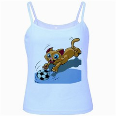 Cat Ball Play Funny Game Playing Baby Blue Spaghetti Tank