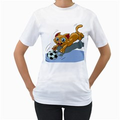 Cat Ball Play Funny Game Playing Women s T Shirt (white) (two Sided)