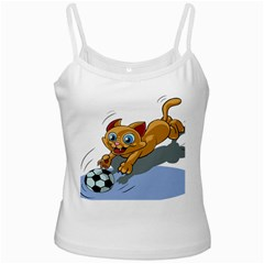 Cat Ball Play Funny Game Playing Ladies Camisoles