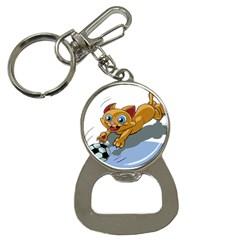 Cat Ball Play Funny Game Playing Bottle Opener Key Chains