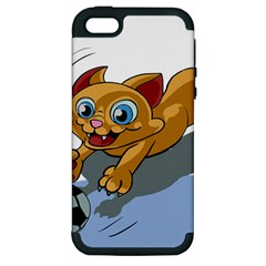 Cat Ball Play Funny Game Playing Apple Iphone 5 Hardshell Case (pc+silicone)