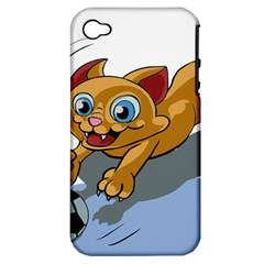 Cat Ball Play Funny Game Playing Apple Iphone 4/4s Hardshell Case (pc+silicone)