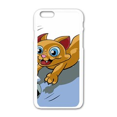 Cat Ball Play Funny Game Playing Apple Iphone 6/6s White Enamel Case
