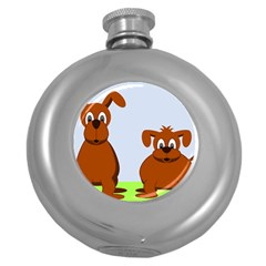 Animals Dogs Mutts Dog Pets Round Hip Flask (5 Oz)