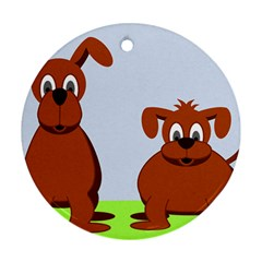 Animals Dogs Mutts Dog Pets Round Ornament (two Sides)
