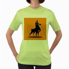 Illustration Silhouette Art Mammals Women s Green T Shirt
