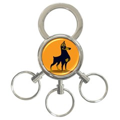 Illustration Silhouette Art Mammals 3 Ring Key Chains
