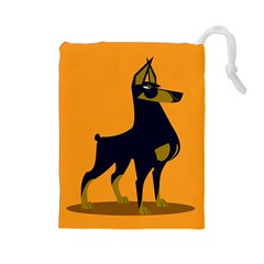 Illustration Silhouette Art Mammals Drawstring Pouches (large)