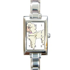 Poodle Dog Breed Cute Adorable Rectangle Italian Charm Watch