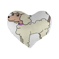 Poodle Dog Breed Cute Adorable Standard 16  Premium Heart Shape Cushions