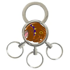 Bulldog Cartoon Angry Dog 3 Ring Key Chains