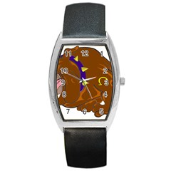 Bulldog Cartoon Angry Dog Barrel Style Metal Watch